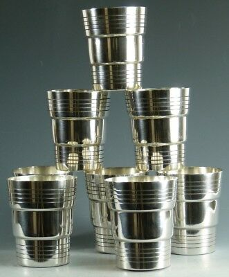 Vintage FRENCH Silver Plate - Set of 8 Art Deco Cocktail Tumblers / Cups
