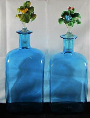 Pair of Antique Pontiled Blue Glass Bottles w/ Victorian Flower Bouquet Stoppers