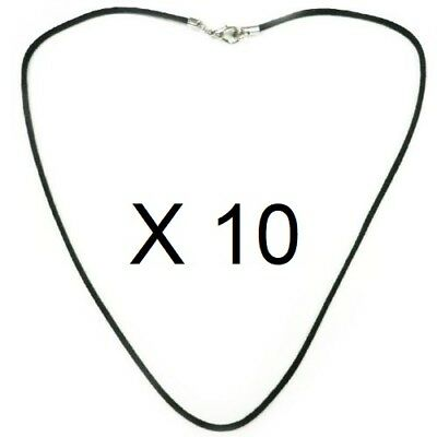 LOT de 10 COLLIER CORDON Noir 1mm Coton huilé Brillant Longueur 35 à 80 cm