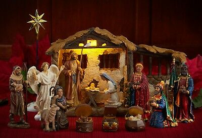 Three Kings Gifts 5 Inch, 23 piece Nativity Set with Lighted StableNew for 2018