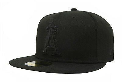 New Era 59Fifty Cap MLB Los Angeles Angels of Anaheim Mens Black Hat Big Sizes