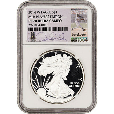 2014-W American Silver Eagle Proof - NGC PF70 UCAM Derek Jeter Signed