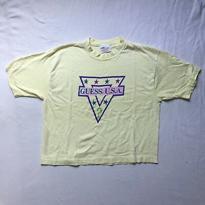 Vtg 1990s Guess USA Spellout By Georges Marciano Crop Top Yellow T Shirt Guess?