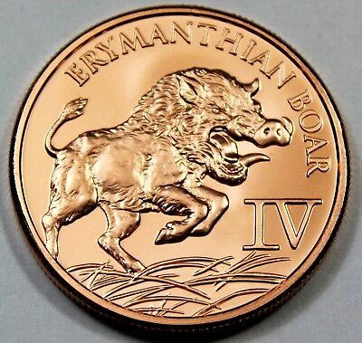 "/""Erymanthian Boar/"" 1oz 999 Copper Round 12 Labors of Hercules 12 Round Series #4"