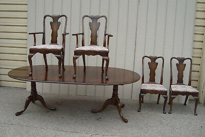 00001 Solid Mahogany STATTON Table w/ 2 Leafs + 4 Chairs   QUALITY