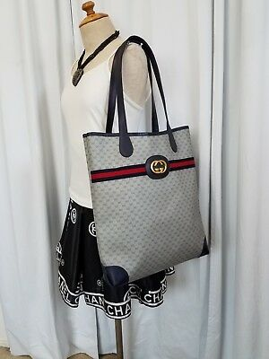 fddca9dde70 Vintage Gucci Tote Shopper Bag Purse GG 80s Authentic Stripe PVC Big Large  Vinyl