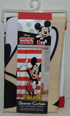 Disney Mickey Mouse Fabric Shower Curtain Waving Hand Red White Stripes Bath