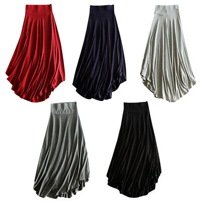 Women Dress High Waist Boho Flare Pleated Evening Party Maxi Long Beach Skirt AU
