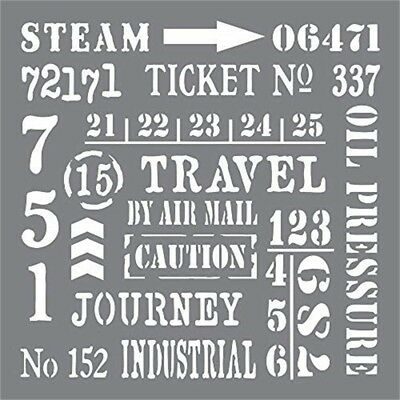 Andy Skinner Mixed Media Industrial Elements Stencil, Grey, 8 x 8-inch -