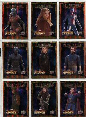 Avengers Infinity War Complete Remarkable People Chase Card Set RP1-20