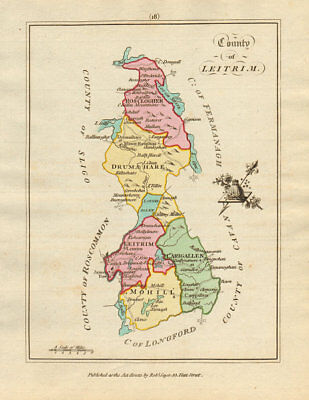 County of Leitrim, Connaught. Antique copperplate map by Scalé / Sayer 1788