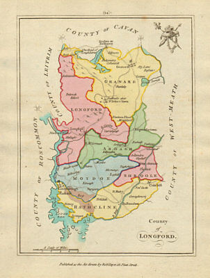 County of Longford, Leinster. Antique copperplate map by Scalé / Sayer 1788
