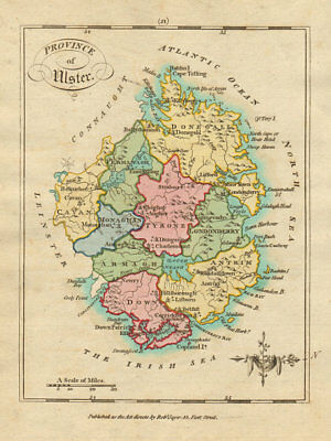Province of Ulster. Antique copperplate map by Scalé / Sayer 1788 old