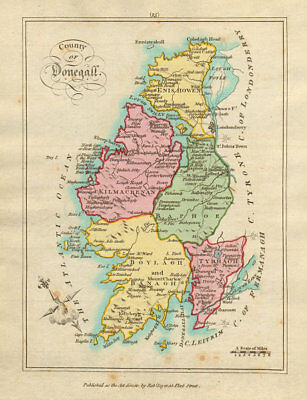 County of Donegall, Ulster. Antique copperplate map by Scalé / Sayer 1788