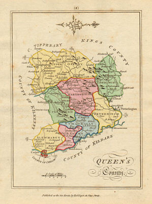 Queens County (Laois), Leinster. Antique copperplate map. Scalé / Sayer 1788