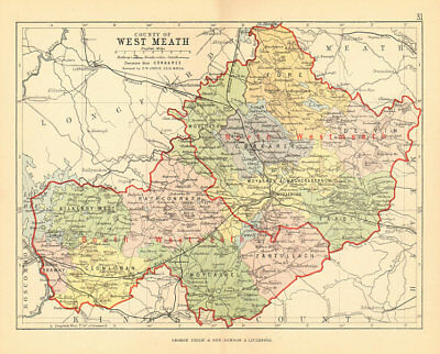 LAOIS BARTHOLOMEW 1882 QUEENS COUNTY Ireland Leinster Antique county map
