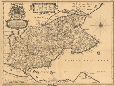 'Fifae Vicemitatus'. Fife, Scotland. BLAEU 1654 facsimile. LARGE 1912 old map