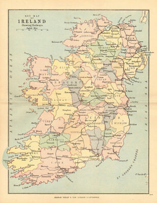 IRELAND. showing railways counties & provinces. BARTHOLOMEW 1886 old map