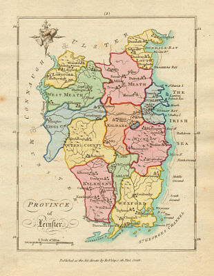 Province of Leinster. Antique copperplate map by Scalé / Sayer 1788 old