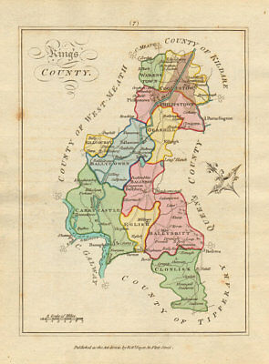 Kings County (Offaly), Leinster. Antique copperplate map. Scalé / Sayer 1788