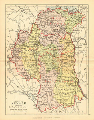 COUNTY ARMAGH. Antique county map. Ulster Portadown. N.Ireland. BARTHOLOMEW 1886