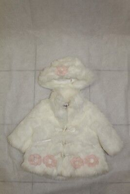 Bnwt Baby Girls Cream Fur Coat With Matching Hat Fit 9-12 Months