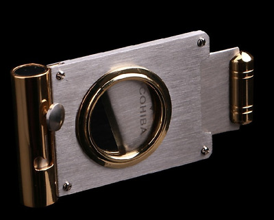 New COHIBA Stainless Steel Multi-function Cigar Cutter/Scissors with Cigar Punch