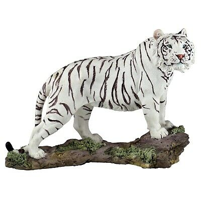 "White Tiger Figurine Statue 7"" Long Detailed Resin New In Box!"