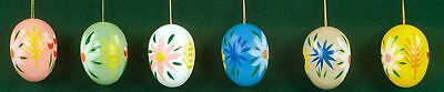 6 Erzgebirge Wood Easter Egg Ornaments Made in Germany New Holiday Decorations