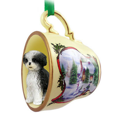 Shih Tzu Christmas Ornament Teacup Blk/Wht Sport