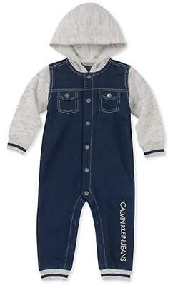 Calvin Klein Infant Boys Blue Hooded Coverall Size 3/6M 6/9M 12M 18M 24M