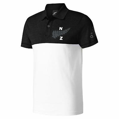 Adidas HOMME All Blacks Collégial Rugby Polo T-Shirt Noir Nouvelle-Zélande Union