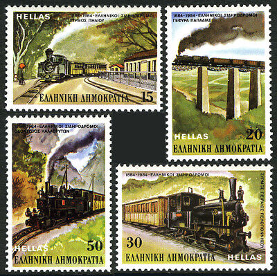 Greece 1502-1505, MNH. Greek Railway Centenary. Papadia Bridge,Locomotives, 1984