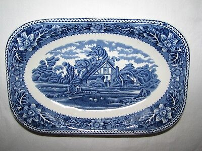 blue transferware SMALL PLATTER PICKLE DISH Vintage Woodland Wood & Sons