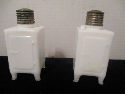 Antique Milk Glass Monitor Top Salt And Pepper Shakers