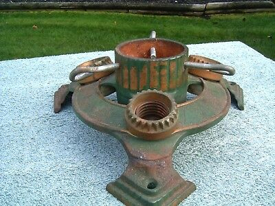 ANTIQUE CAST IRON (1933) CHRISTMAS TREE STAND W/3 LIGHT SOCKETS by REYMAN * F/S*