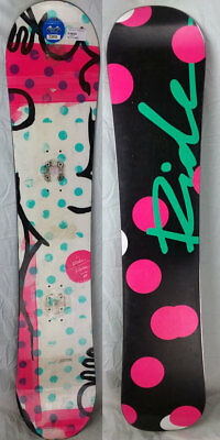 Ride Rapture Womens All Mountain Snowboard 138 cm - White/Pink/Blue Dots - USED