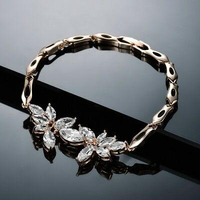 """Clear Charms Sapphire Crystal Gold Filled Bangle Chain Bracelet Jewelry 7.5"""""""