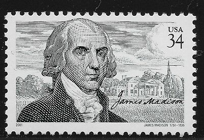US Scott #3545, Single 2001 James Madison 34c VF MNH