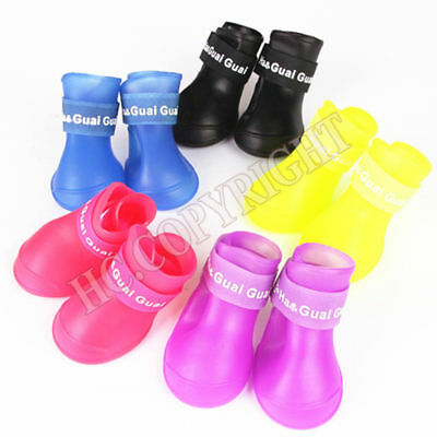 4Pcs Non-Slip Dog Shoes Rain Socks Pet Waterproof Rubber Boots for Dogs Walking