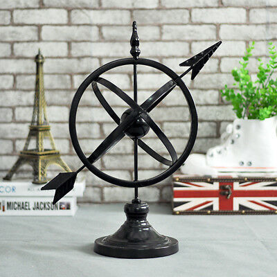 Wrought Iron Rustic Arrow Armillary Sundial Sphere Sculpture Garden Home Decor