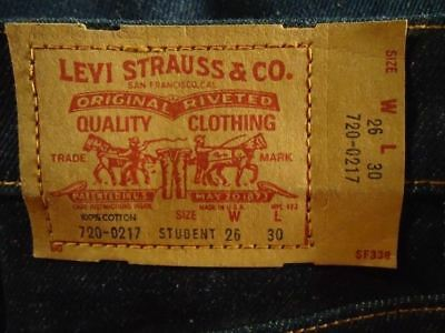 NOS Levis Vtg  Jeans Straight Leg Student 28/30 USA Made 720-0217 Meas 28x 30.5