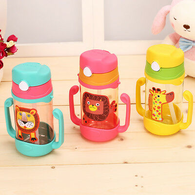 Baby Sippy Drinking Water Bottle Cup Straw Toddler Kids Anti-Spill School Picnic