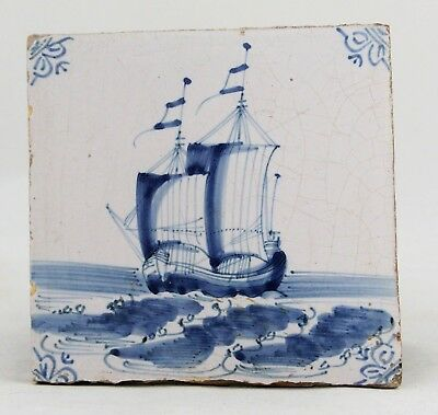 antique 17th C. Dutch delft blue Tile with Sailing Ship, Vessel, Two Master