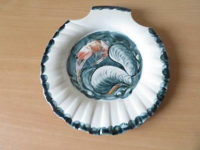 RICHARD BRAMBLE For JERSEY POTTERY SCALLOP SHELL PLATE Mussels & Prawn V.G.COND