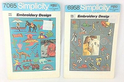 Lot of 2 Simplicity Embroidery Patterns #6958 (Sport) #7065 (Scenic) Uncut