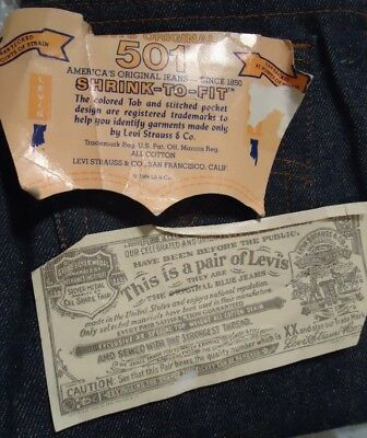 NOS Vtg Levi Levis Shrink To Fit 80s Blue Jeans 25/30 Boy's Zipper Fly Deadstock