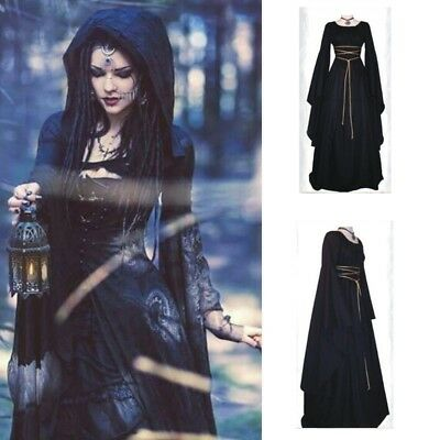 US Women Halloween Gown Dress Medieval Ladies Party Outfits Gothic Witch Costume