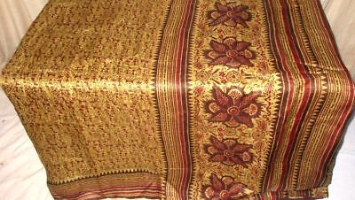 Cream Coffee Pure Silk 4 yd Vintage Antique Sari Saree Gift for Mother NR #9AOYG