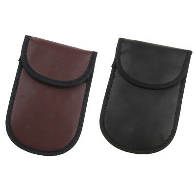 Signal Shielding Leather Pouch Bag Key Fob Security RFID Blocking Wallet